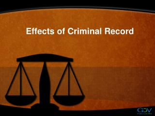 Effects of Criminal Record