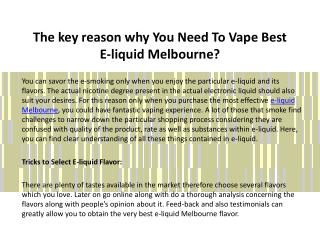 The key reason why You Need To Vape Best E-liquid Melbourne?