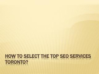 How To Select The Top SEO Services Toronto?