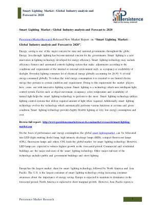 Global Smart Lighting Market Analysis to 2020