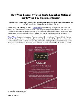 Hey Wine Lovers! Twisted Roots Launches National Drink Wine