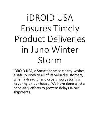 iDROID USA Ensures Timely Product Deliveries in Juno Winter