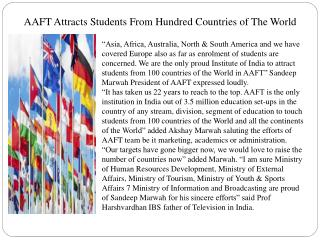 AAFT Attracts Students From Hundred Countries of The World