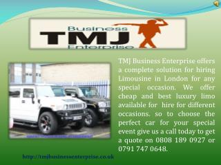Luxury Car Hire For Prom Via TMJ Business Enterprise