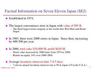 Factual Information on Seven Eleven Japan SEJ