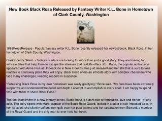 New Book Black Rose Released by Fantasy Writer K.L. Bone