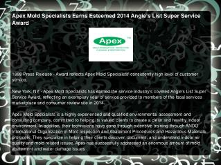 Apex Mold Specialists Earns Esteemed 2014 Angie's List