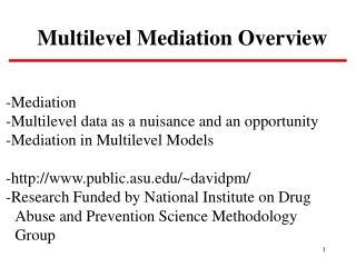 Multilevel Mediation Overview