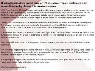 Mission Repair offers lowest price on iPhone screen repair