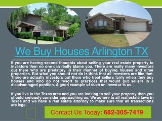We Buy Houses Arlington TX