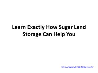 Learn Exactly How Sugar Land Storage Can Help You