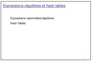 Expressions r guli res et hash tables