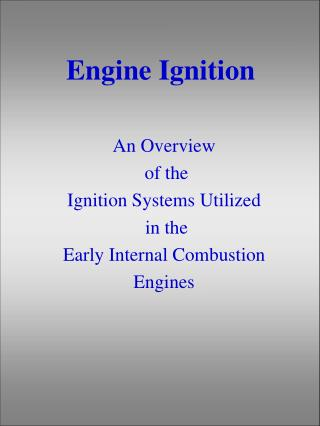 Engine Ignition