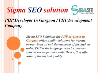 PHP Developer In Gurgaon / PHP Development Company