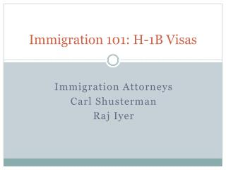 Immigration 101: H-1B Temporary Work Visas