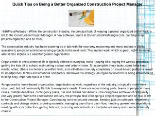 Quick Tips on Being a Better Organized Construction Project