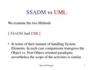 SSADM vs UML