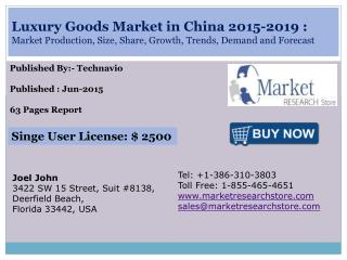 China Luxury Goods Market 2015 - 2019 Size, Share, Growth