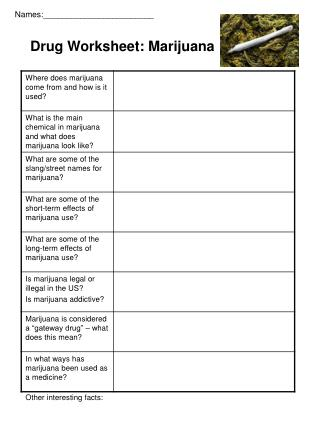 Drug Worksheet: Marijuana