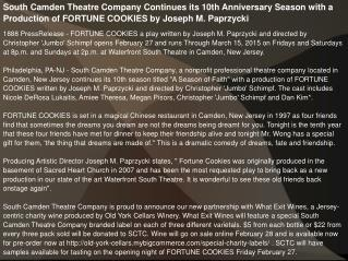 South Camden Theatre Company Continues its 10th Anniversary