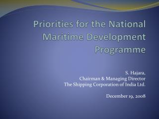 Priorities for the National Maritime Development Programme