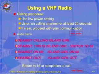 Using a VHF Radio