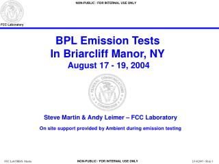 BPL Emission Tests In Briarcliff Manor, NY  August 17 - 19, 2004