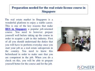 Preparation needed for the real estate license course in Sin