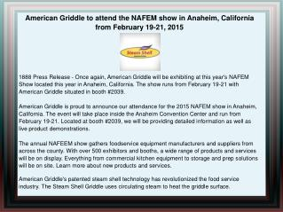 American Griddle to attend the NAFEM show in Anaheim