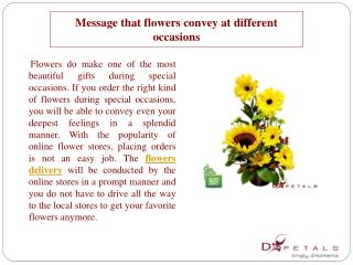 Message that flowers convey at different occasions