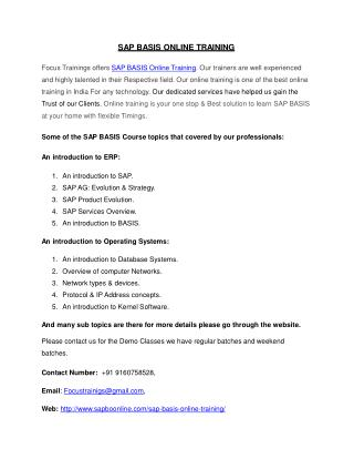Best SAP BASIS Online Training