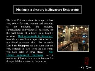 Dinning is a pleasure in Singapore Restaurants