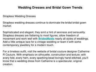 Wedding Dresses and Bridal Gown Trends
