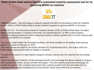 SUNY Buffalo State selects SparcIt's automated creativity