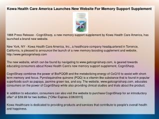 Kowa Health Care America Launches New Website For Memory