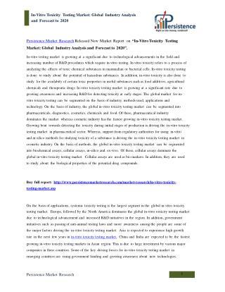 Global In-Vitro Toxicity Testing Market Analysis to 2020