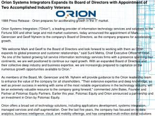 Orion Systems Integrators Expands its Board of Directors