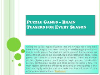 Puzzle Games – Brain Teasers for Every Season
