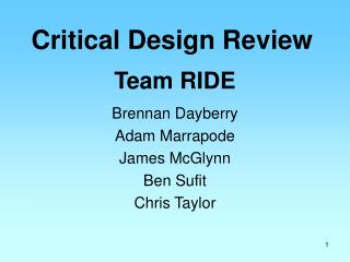 Critical Design Review