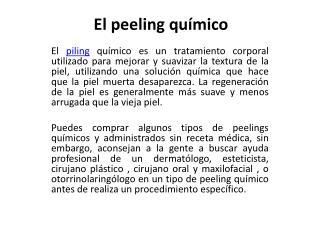 Piling qu�mico para tu piel