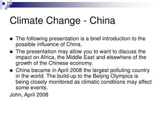 Climate Change - China
