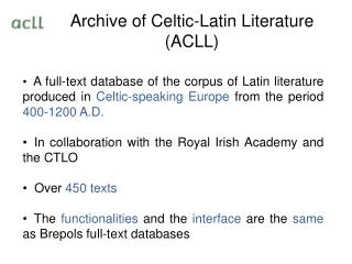 Archive of Celtic-Latin Literature ACLL