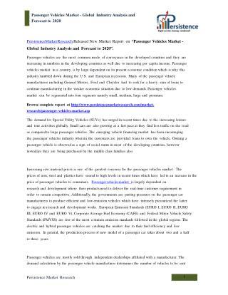 Global Passenger Vehicles Market Analysis to 2020