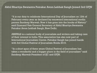 Akhil Bhartiya Swatantra Patrakar Avom Lekhak Sangh Joined 3