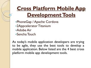 Cross Platform Mobile App Development Tools