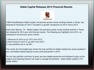 Noble Capital Releases 2014 Financial Results
