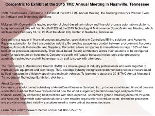 Corcentric to Exhibit at the 2015 TMC Annual Meeting