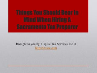 Things You Should Bear In Mind When Hiring A Sacramento Tax