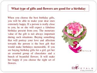 What type of gifts and flowers are good for a birthday