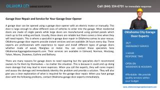 Garage Door Repair and Service for Your Garage Door Opener